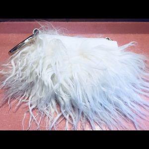 Handbags - Wristlet clutch white Mongolian lamb leather NWOT